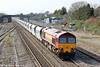 59205 'L Keith McNair' heads up the main line at Magor with 6A83, 1240 Machen to West Drayton on 21st March 2012.