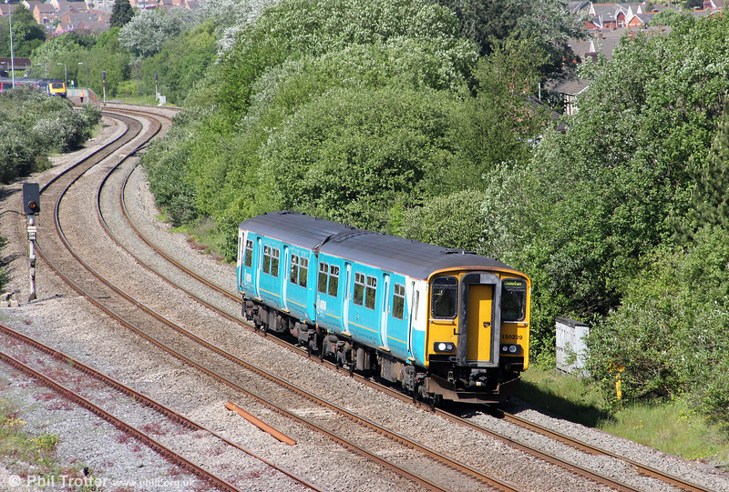 150229 has just joined the main line at Briton Ferry forming 1G97, 1330 Fishguard Harbour to Cheltenham Spa on 29th May 2012.