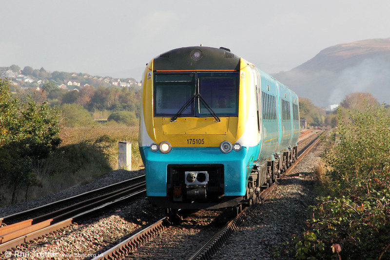 The morning mists are still clearing as 175105 passes Llangennech with the diverted 1V70, 0555 Crewe to Carmarthen on 13th October 2012.