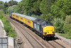 DRS 37611 flies through Ram Hill (Coalpit Heath) with Radio Survey Test Train 1Q13, 0930 Exeter Riverside Yard to Didcot on 26th May 2012. 37601 'Class 37 - Fifty' was at the rear.