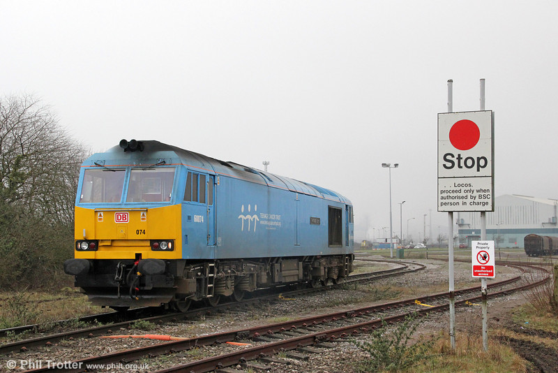 60074 'Teenage Spirit' returns to Margam Knuckle Yard from the Grange Branch on 10th March, 2012.