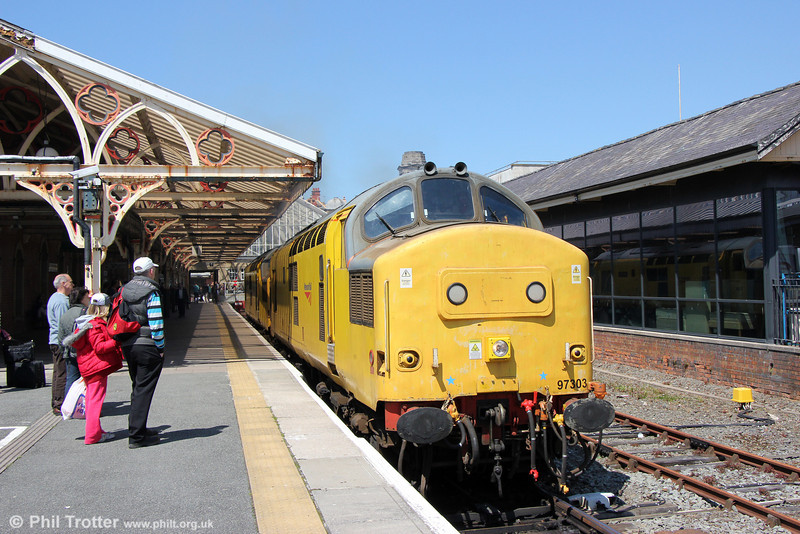 97303 and 97304 'John Tiley' run out of Aberystwyth to couple to the head of the train for the return 'Welsh Mountain Statesman' on 25th May 2013.