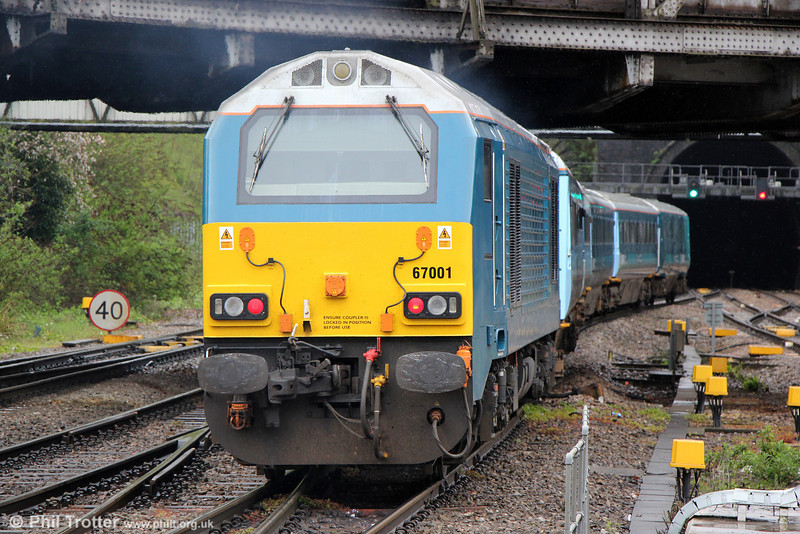 67001 propels 1V31, 0533 Holyhead to Cardiff Central away from Newport on 14th May 2013.