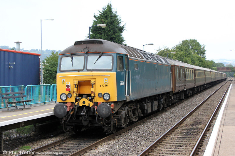 Back on familiar territory: WCRC 57316 at Cwmbran, bringing up the rear of , 1127 Gloucester to Carnforth ECS on 25th August 2013.