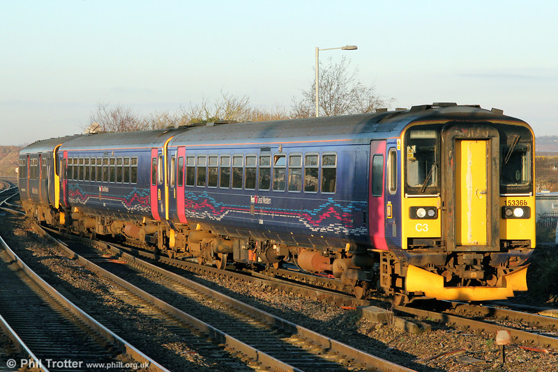 153368 leads 2D04, 0736 from Taunton into Bristol Parkway on 15th January 2013.