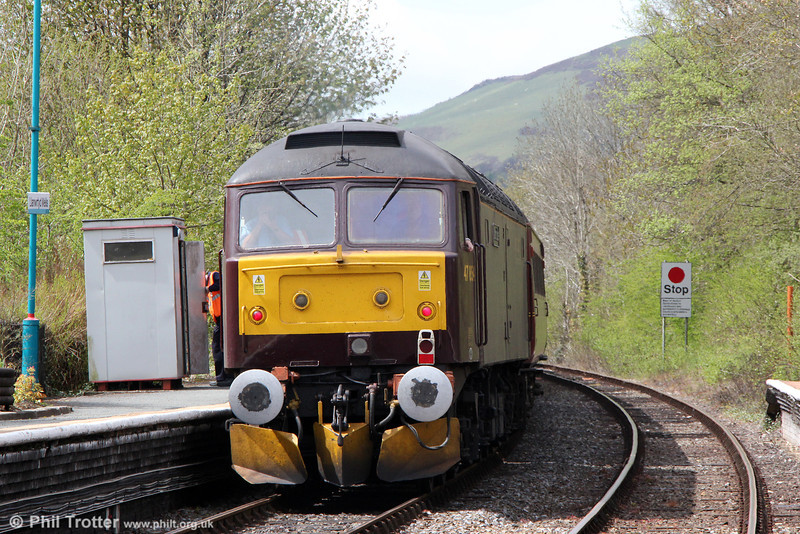 WCRC 47854 'Diamond Jubilee' at the rear of Compass Tours 1Z52, 0605 Holyhead to Cardiff Central, 'The Heart of Wales Scenic Rambler' at Llanwrtyd Wells on 18th May 2013.