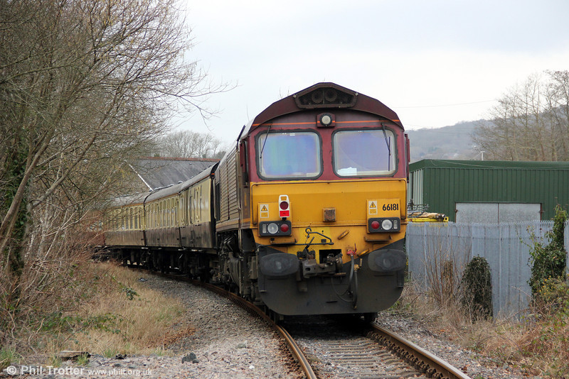 66181 at Ty-Uchaf Crossing, Glanamman at the rear of UK Railtours 1Z66, 1520 Gwaun Cae Gurwen to London Paddington, 'The Amman Valley Ranger' on 9th March 2013.