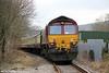 66181 at Ty-Uchaf Crossing, Glanamman at the rear of UK Railtours 1Z66, 1520 Gwaun Cae Gurwen to London Paddington, 'The Amman Valley Ranger' on 9th March 2013.