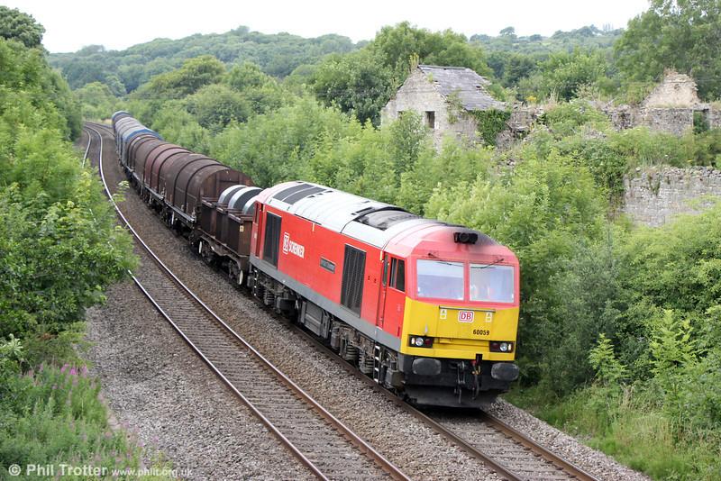 60059 'Swinden Dalesman passes Llangewydd with 6B67, 1152 Margam to Llanwern on 20th July 2013.