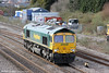 66572 runs light throiugh Magor from Wentloog to Stoke Gifford on 16th March 2013.