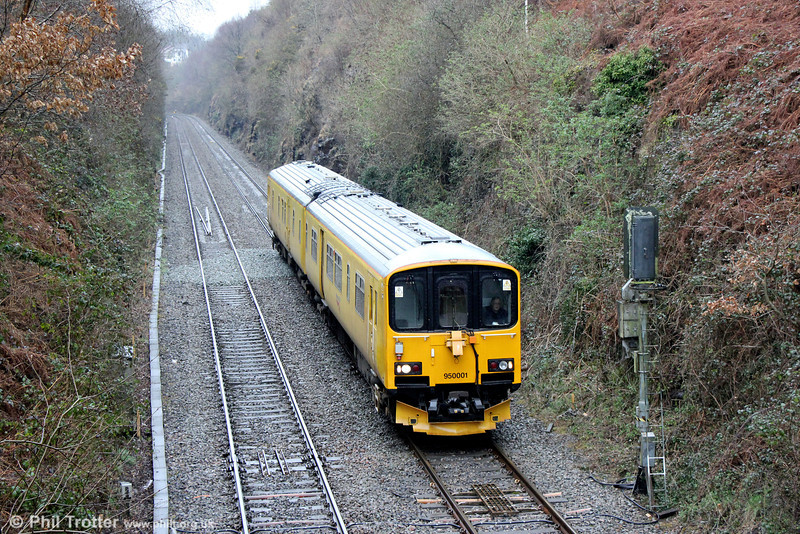 In a scene which is more autumnal than springlike, NR 950001 at Llandarcy with 2Q08, 0821 Landore TMD - Llandeilo Junction  - Swansea - Port Talbot - Morlais Junction - Port Talbot - Burrows Yard and return on 13th April 2013.