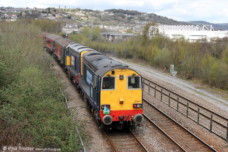 DRS 20312 and 20308 at the rear of Retro Railtours 5Z29, 1336 Swansea to Swansea Loop West, 'The Retro Welsh Dragon' ECS for turning on Landore triangle on 27th April 2013.