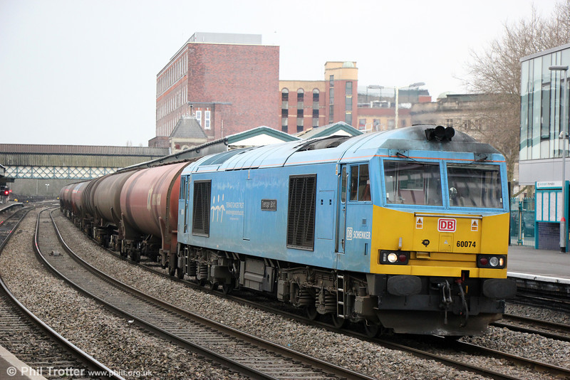 60074 'Teenage Spirit' passes Newport with 6B33, 1300 Theale to Robeston on 9th April 2013.