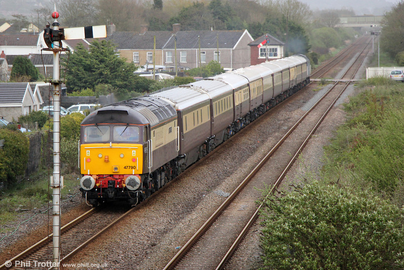 47790 'Galloway Princess' brings up the rear of 1Z53, 1750 Fishguard Harbour to Bath Spa, 'The Northern Belle' at Pembrey & Burry Port on 9th May 2013.