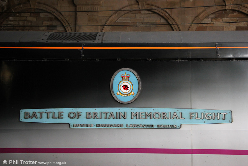 Nameplate of Battle of Britain liveried 91110 'Battle of Britain Memorial Flight' at Edinburgh Waverley on 12th July 2013. Producing the nameplate in the style of Bullied's Battle of Britain class locomotives was nothing short of inspired!