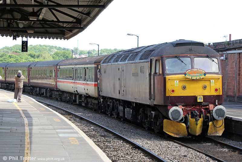 West Coast's 47760 at Worcester Foregate Street bringing up the rear of 5Z39, the ECS of Nenta Train Tours 'The Severn Valley Rambler' which ran from North Walsham on 1st June 2013.