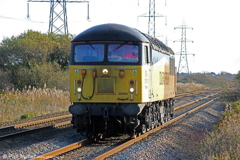 56094 passes Margam running as 0Z51, 1257 Cardiff Canton to Baglan Bay on 22nd November 2013.
