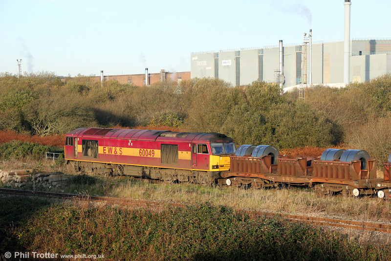 60049 arrives at Trostre Works with 6B11, 0815 from Margam on 24th November 2013.