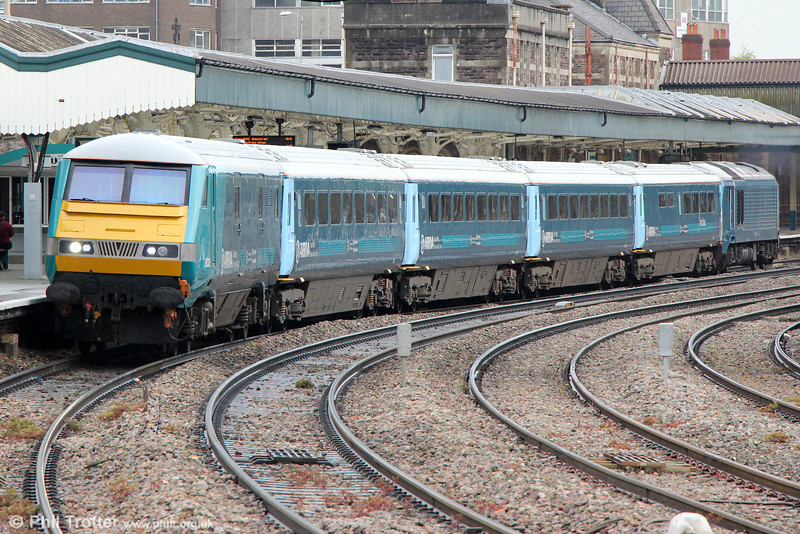 DVT 82306 leads 1V31, 0533 Holyhead to Cardiff Central away from Newport on 14th May 2013. Power was provided at the rear by 67001,