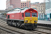 DB red 66097 runs light through Newport from Llanwern to Margam on 9th April 2013.