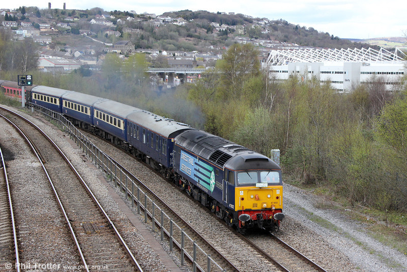 DRS 47802 'Pride of Cumbria' at the head of Retro Railtours 5Z30, 1351 Swansea  Loop West to Swansea, 'The Retro Welsh Dragon' ECS which had turned on Landore triangle on 27th April 2013.