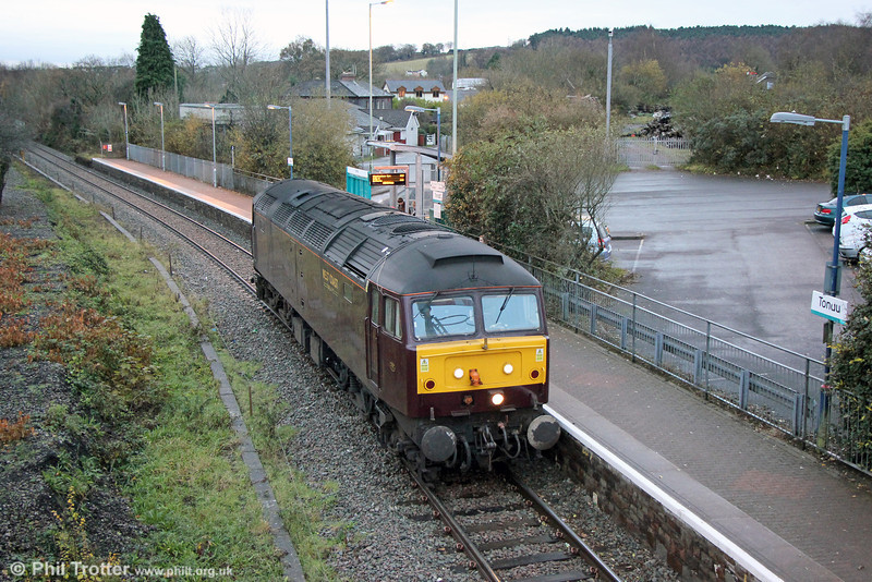 The unusual sight of a Class 47 at Tondu. WCRC 47237 with route refresher 0Q83, 0702 from Cardiff Central on 4th December 2013.