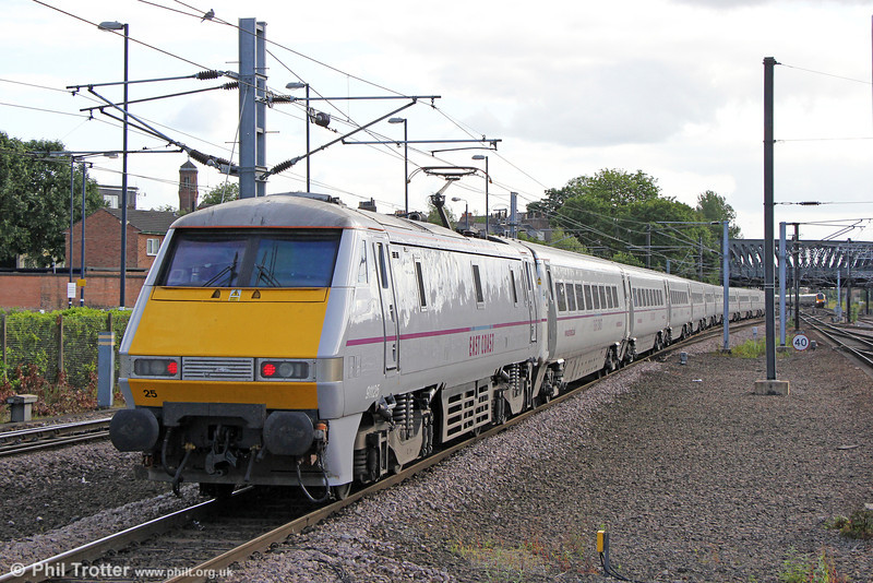 91125 powers away from York propelling 1Y44, 1625 Newcastle to London Kings Cross on 1st July 2013.