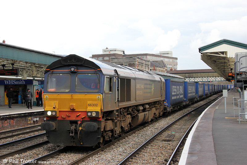 DRS 66302 at Newport with 4V38, 0825 Daventry to Wentloog Tesco containers on 18th March 2013.