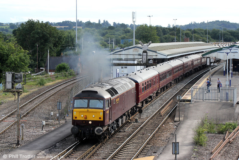 WCRC 47237 accelerates away from Westbury with 5Z81, 1305 Southall to Bristol Kingsland Road on 10th August 2013. This was the ECS for the following day's 'Weymouth Seaside Express'.
