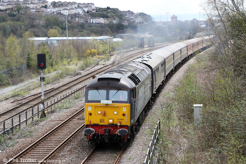 DRS 47802 'Pride of Cumbria' heads Retro Railtours 5Z29, 1336 Swansea to Swansea Loop West, 'The Retro Welsh Dragon' ECS for turning on Landore triangle on 27th April 2013.