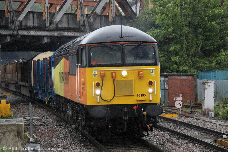 "Currently the 'regular' loco on the logs, 56105 at Newport with 6Z51, 1620 Baglan Bay to Chirk (Kronospan) on 14th May 2013. Keep up to date with the latest developments in the class 56 fleet's return to favour at the <a href=""http://www.class56group.co.uk/""TARGET=""_blank"">Class 56 Group website</a>."