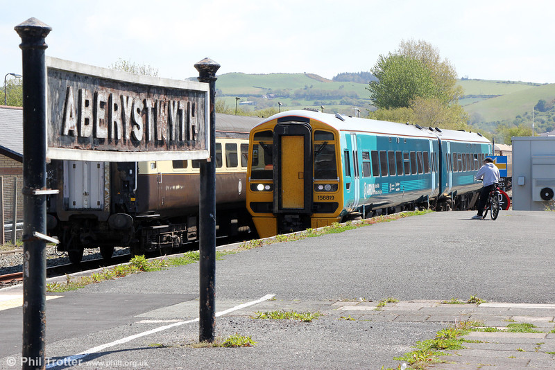 Nowadays the staple fare on the Cambrian lines are the ATW ERTMS fitted class 158s. 158819 arrives at Aberystwyth forming 1J11, 1050 from Crewe on 25th May 2013.
