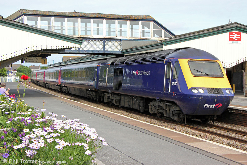 43139 'Driver Stan Martin' calls at Llanelli with 1L52, 0935 Carmarthen to London Paddington on 29th June 2013.