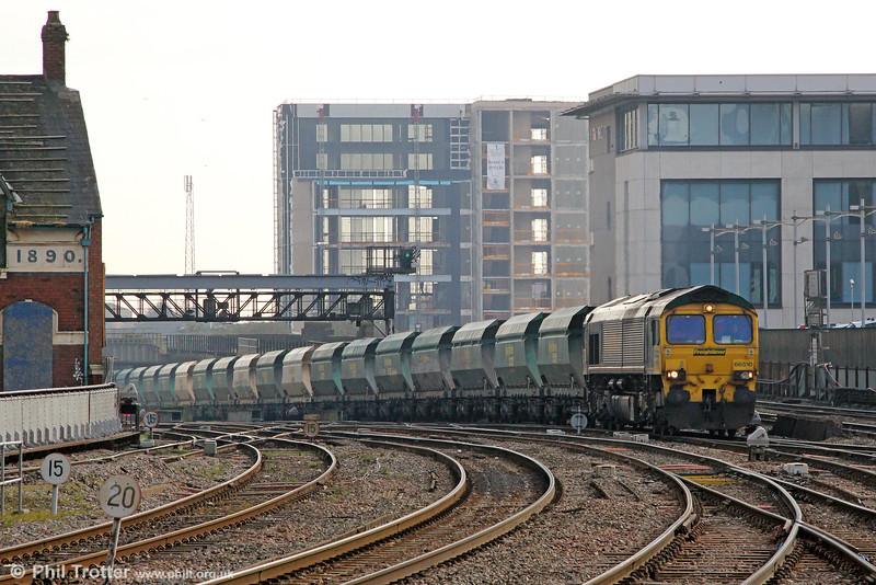 66510 climbs into Cardiff Central with 6B42, 0734 Bristol Barrow Road to Neath Abbey Wharf on 18th March 2013.