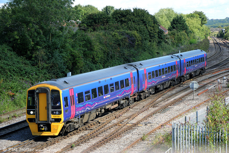 158798 approaches Westbury forming 1F09, 0930 Cardiff Central to Portsmouth Harbour on 7th September 2013.
