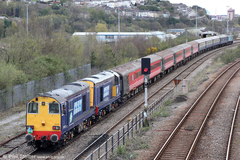 DRS 20312 and 20308 at the rear of Retro Railtours 5Z30, 1351 Swansea  Loop West to Swansea, 'The Retro Welsh Dragon' ECS which had turned on Landore triangle on 27th April 2013.