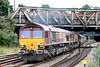 66009 and 66081 pass Newport with 6M60, 0400 Exeter Riverside to Bescot china clay on 17th August 2013.