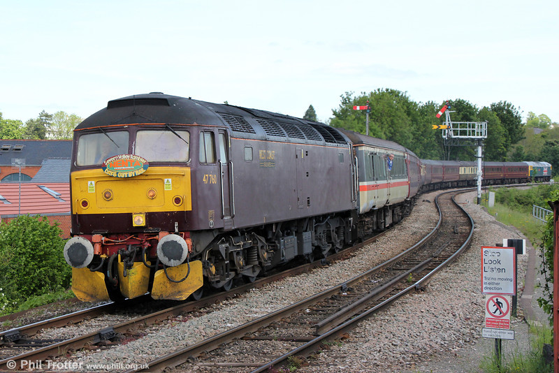 West Coast's livery still doesn't do it for me. 47760 approaches Worcester Foregate Street at the end of Nenta Train Tours marathon 1Z39, 0520 from North Walsham, 'The Severn Valley Rambler' on 1st June 2013. 47580 'County of Essex' was at the rear. Worcester Foregate Street is operated as two single lines, one (left) to/from the north, the other to/from Shrub Hill.
