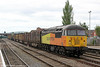 56094 rolls into Hereford with 6Z50, 1400 Chirk to Briton Ferry Yard on 1st June 2013.