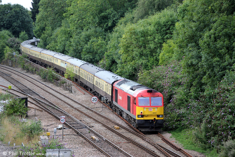 60063 brings up the rear of Pathfinder's 1Z58, 0933 Bristol Temple Meads to Machen Quarry via Ebbw Vale, 'The Taffy Tug' at Gaer Junction on 25th August 2013.