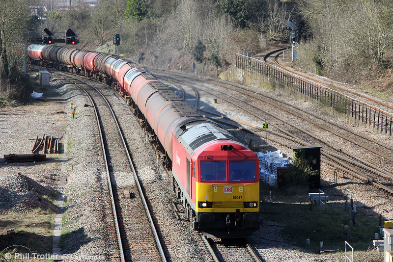 60017 passes Gaer Junction with 6B13, 0507 Robeston to Westerleigh on 6th April 2013.