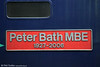 Nameplate of 47810 'Peter Bath MBE' at Bristol Temple Meads on 26th October 2013.