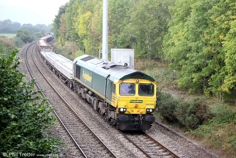 66599 at Penpergwm with 6Y18, 0934 Crewe Basford Hall to Severn Tunnel Junction on 28th September 2013. Ex-DRS 66419 was at the rear.