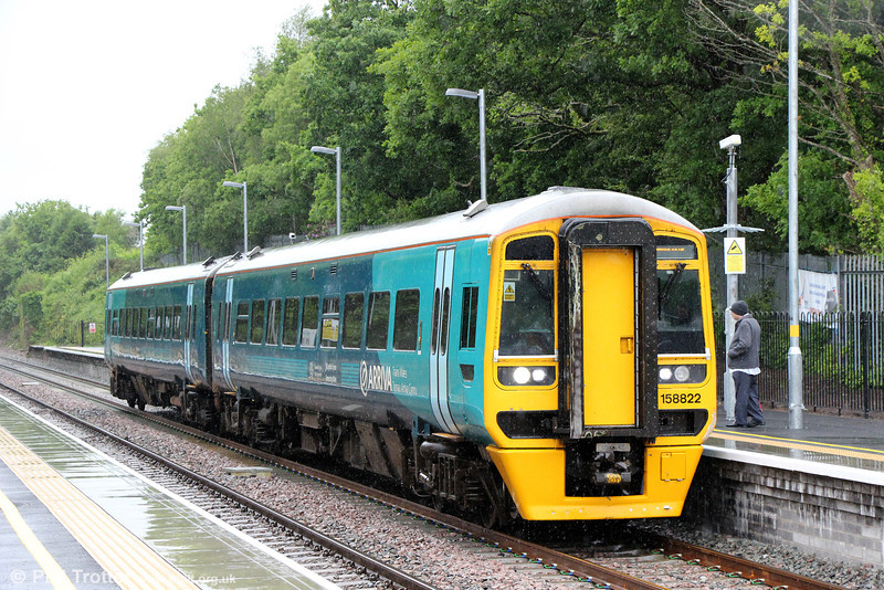 158822 pauses at Gowerton forming 2E07, 1107 Carmarthen to Swansea on 16th June 2012.