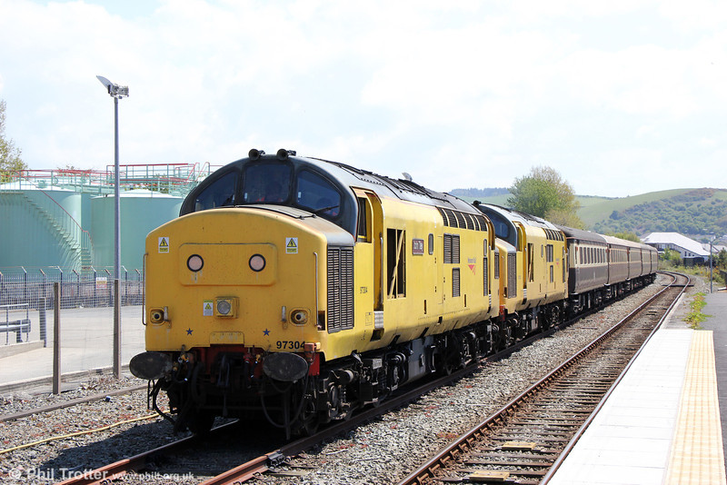 97304 'John Tiley' and 97303 in the loop at Aberystwyth with the ecs of  Statesman Rail's 'The Welsh Mountain Statesman' on 25th May 2013.