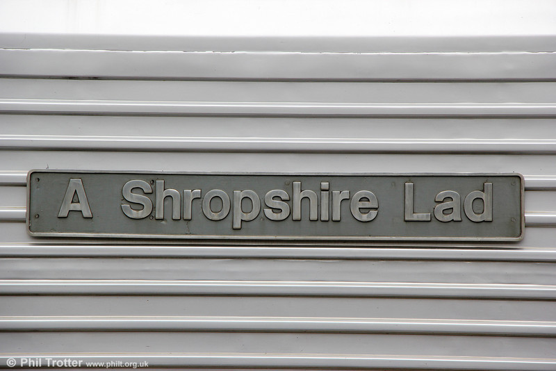 Nameplate of CR 67012 'A Shropshire Lad' at Leamington Spa with 1R25, 1106 London Marylebone to Birmingham Moor Street on 15th June 2013. The name was applied to 67012 during its time with the erstwhile Wrexham & Shropshire.