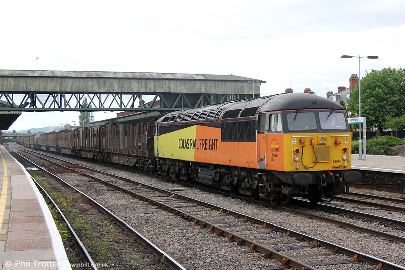 56094 waits to follow a passenger service at Hereford with 6Z50, 1400 Chirk to Briton Ferry Yard on 1st June 2013.