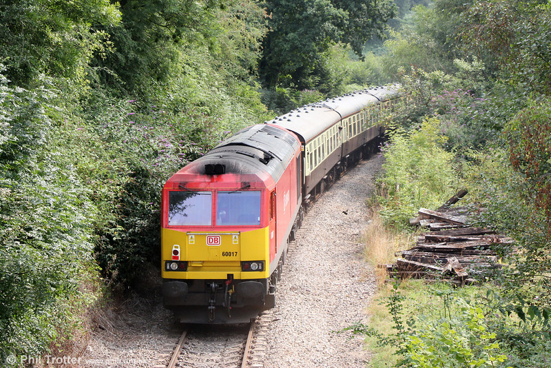 60017 brings up the rear of Pathfinder's 1Z59, 1304 Machen Quarry to Cwmbargoed via Penarth, 'The Taffy Tug' at Church Road on 25th August 2013.