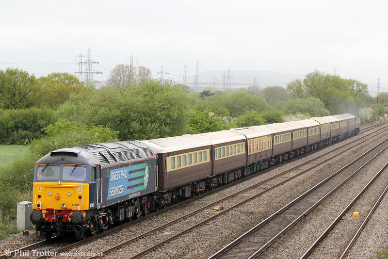 47805 at the rear of 1Z55, 0712 Swansea to Chester, 'The Northern Belle' at Coedkernew on 10th May 2013.