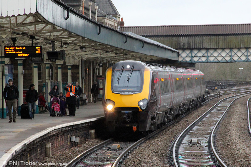 A XC class 221 working a Cheltenham Festival additional, 1Z65, 1510 Birmingham New Street to Cardiff Central, calls at Newport on 15th March 2013.